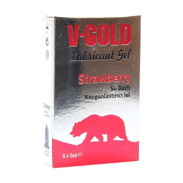 V-Gold Strawberry Lubricant Gel 5x5 ml.